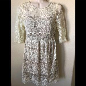 ASOS En Creme Layer Eyelash Lace 3/4 Sleeve Dress